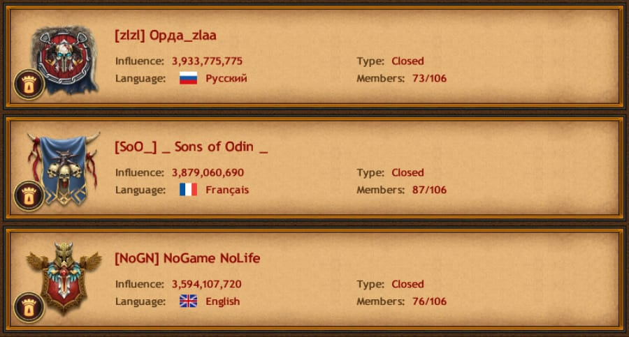 Top Three Clans