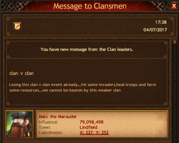 Clan V Clan losing