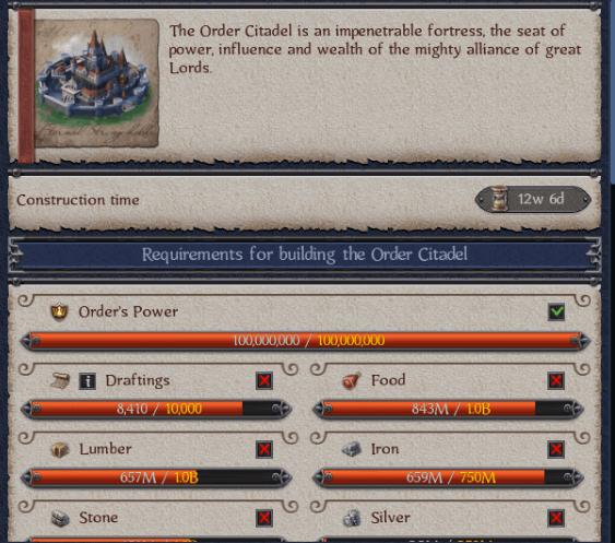 Order Work on Citadel