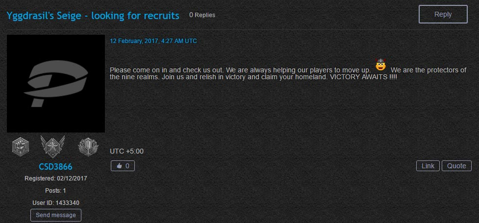 Yggdrasils Seige Recruiting