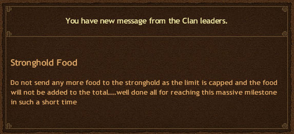 Clan StrongHold Food Achieved