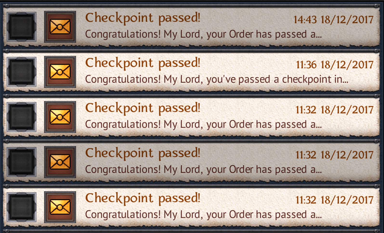Checkpoints Passed
