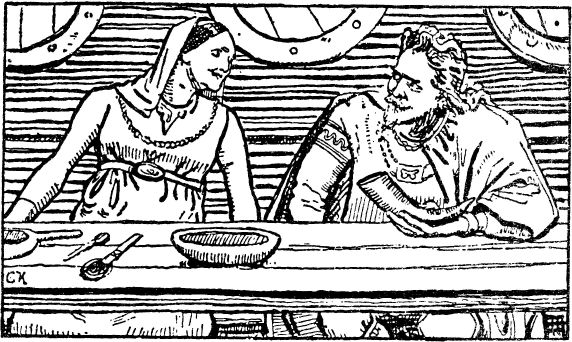 Illustration of Haakon Jarl and his wife Tora Skagesdatter